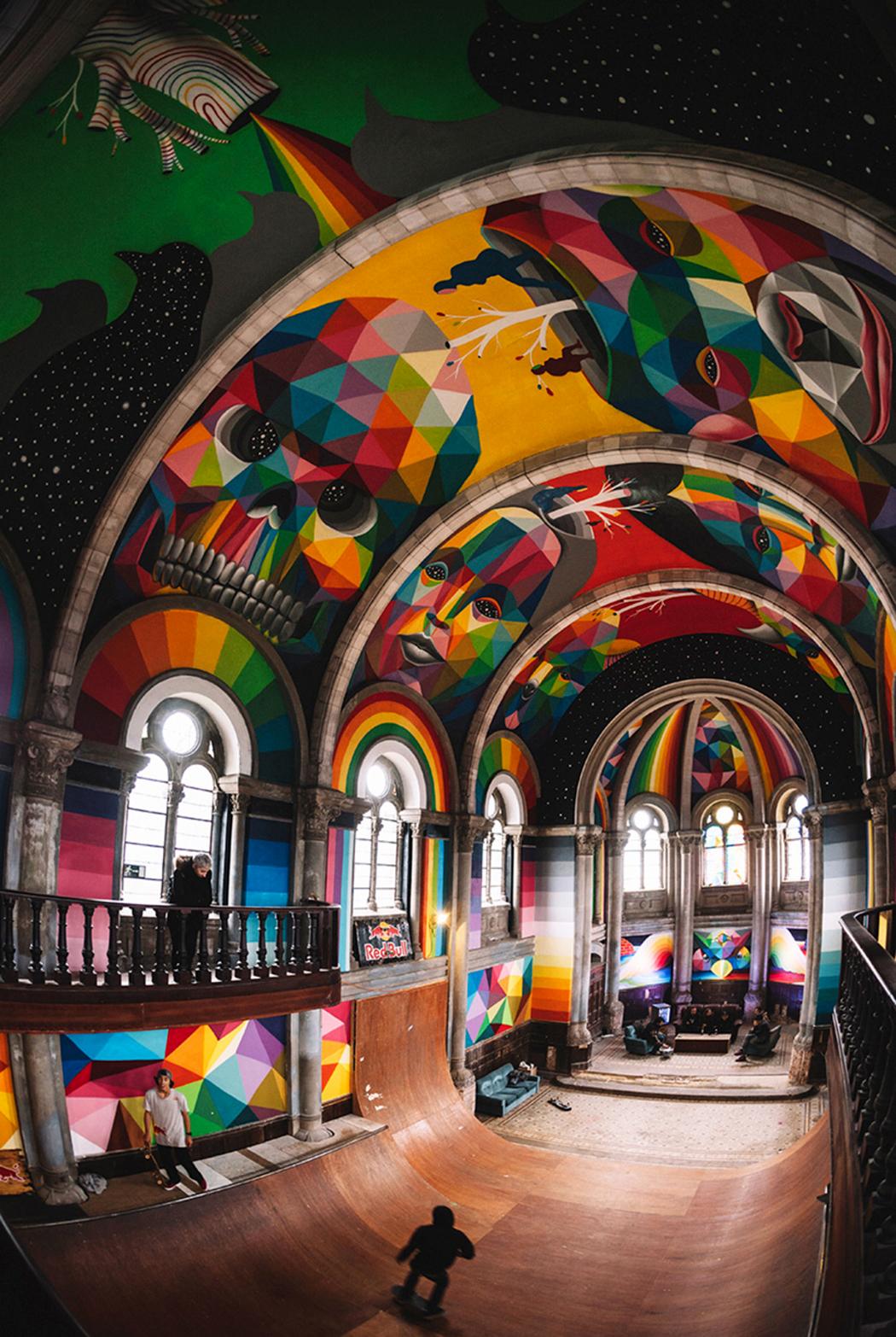 Street Art - okuda - san miguel - mural - church