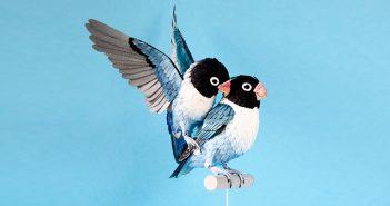 Sanat, El Sanatları, Kolaj, Pul, Kuşlar, Hayvan Hakları, Diana Beltran Herrera, Birds, Stamp