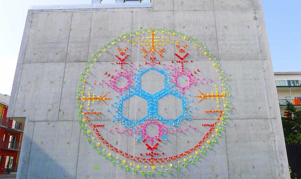 Sanat - Sokak Sanati - Enstelasyon - Kağıt Katlama Sanatı - Origami - Mademoiselle Maurice - 2016