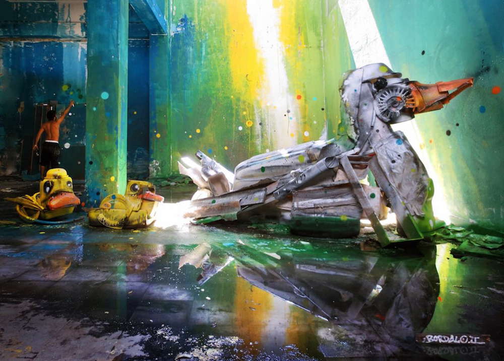Crea.Tips - Sanat - Sokak Sanati - Graffiti - 3 Boyutlu - Kolaj - Bordello II - Big Trash Animals - Hayvanlar