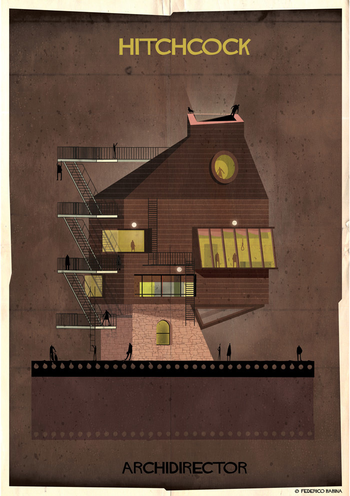 Crea.Tips-Sanat-illustrasyon-Film-yonetmen-Federico-Babina-ARCHIDIRECTOR-Alfred-Hitchcock