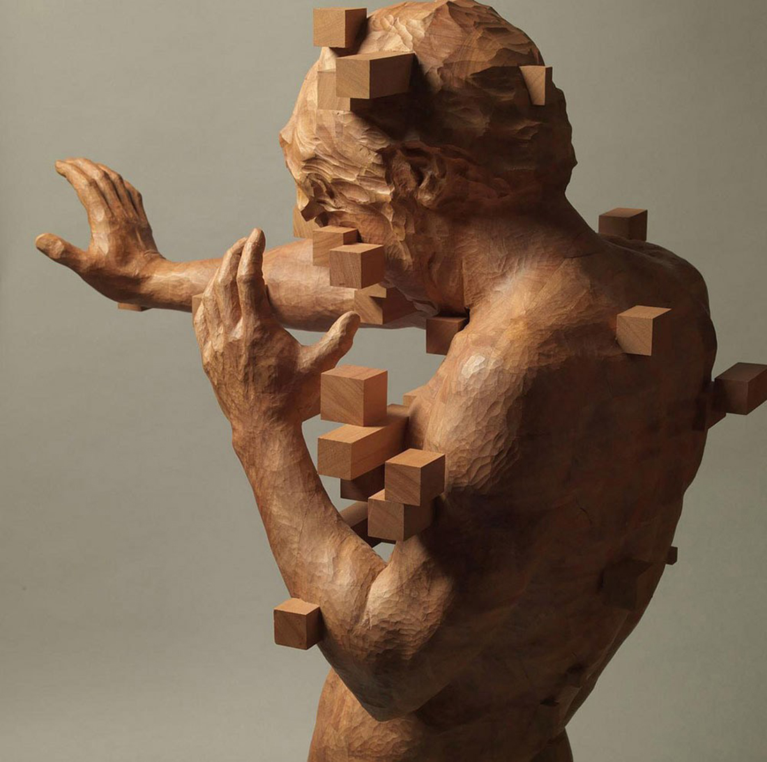 Crea.Tips - Art - Sculpture - Wood - Pixelations - Hsu Tang Han - Ahşap Figuratif Heykeller