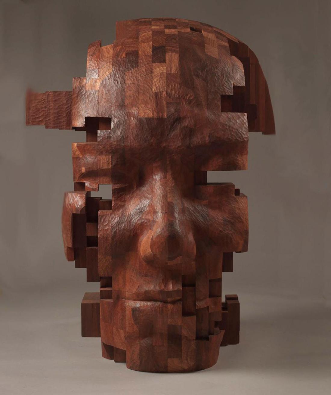 Crea.Tips - Art - Sculpture - Wood - Pixelations - Hsu Tang Han - Ahşap Figuratif Heykeller