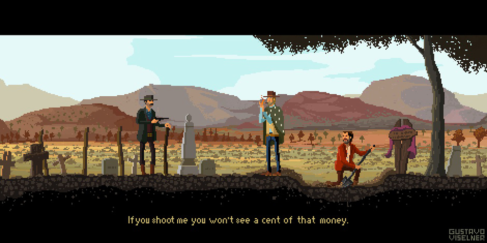 Crea.Tips - Sanat - İllüstrasyon - Pixel Art - 8-bit - Movie - Scenes - Gustavo Viselner - The Good, The Bad and The Ugly