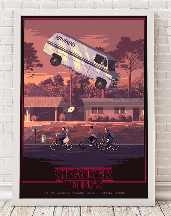 Crea.Tips - Sanat - İllüstrasyon - Pixel Art - 8-bit - Movie - Scenes - Gustavo Viselner - Poster - Stranger Things